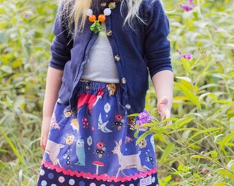 Periwwinkle Forest Friends  Corduroy  Skirt ( 2T, 3T, 4T, 5, 6, 7, 8, 10)