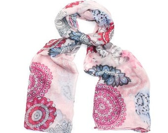 Mandala and floral print scarf