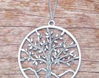 Large Boho Bohemian Tree of Life Silver Pendant Necklace with gift pouch