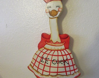 Wall Art Vintage Wooden Le Cook Duck Handmade Hand Painted by my DAD Kitchen Decor Wall Decor Gift Home Decor Duck Collector Collectible