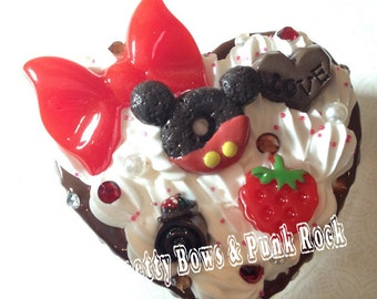 Cute Red Bow and Chocolate Decoden Box
