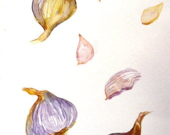Garlic watercolor painting original, culinary watercolor painting, garlic bulbs, kitchen decor, garlic art, garlic bulbs watercolor