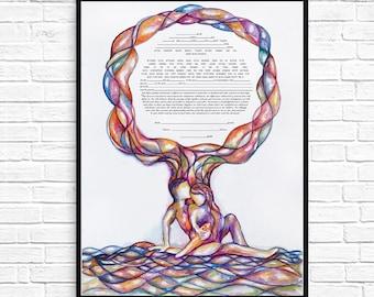 Ketubah Circle Text-- Ketubahs, Ketubah Ceremony, Modern Interfaith Jewish Wedding, Personalized Jewish Tree of Life katubahs