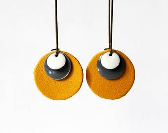 Saffron gray white Sequin leather earrings