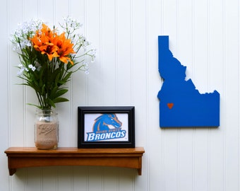 """Boise State Broncos """"State Heart"""" wall art, handcrafted wood with official team colors"""