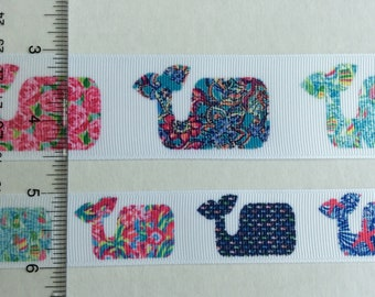 """Lilly Pulitzer inspired Whales In prints grosgrain ribbon  1"""" 1.5"""""""