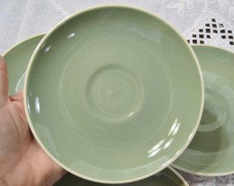 Mid Century Harkerware Saucer Set of 6 Sage Green Replacement Made in USA PanchosPorch