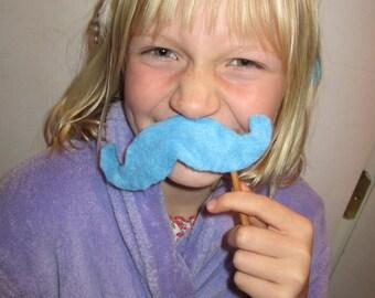 Upcycled Steampunk Light Blue Felt Handlebar Mustache on a Stick - Movember Movement