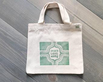 Teacher gift, Mini tote bag, Lunch bag, Peace love unity, Kids tote, Eco-friendly, Boho bag, Green block print tote, Canvas tote bag