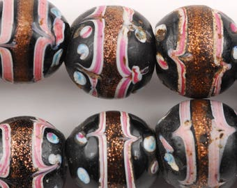 Collectible Fancy Black Aventurine Glass Trade Beads