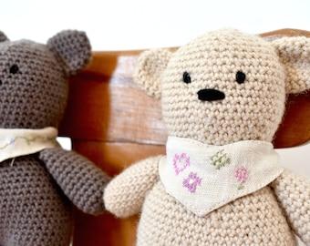 Basic Amigurumi Crochet Teddy Bears Written Pattern - Buttons & Binky Bear Pattern
