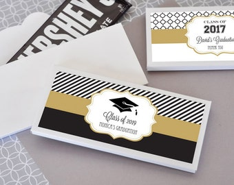 Graduation Candy Wrappers - Personalized Graduation Party Favors Graduation Chocolate Bar Wrapper COVER Graduation Ideas (EB4001GZ) 24| pcs