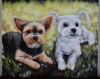 Custom pet painting in acrylics