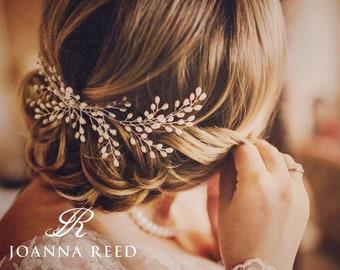 Bridal headpiece, bridal hair comb, bridal hair vine, bridal hair accessories, simple pearl comb, pearl hair piece, hair up, updo, bride