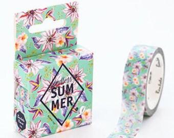 Summer Flower washi tape, Washi Masking Tape, flower Tape,Craft Supply,Sticker Tape,stationery