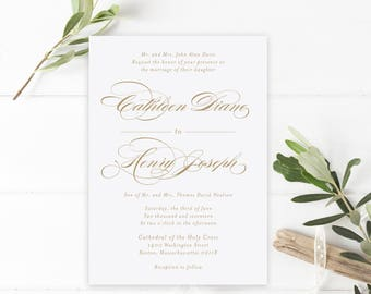 Wedding Invitation, Invitation Suite, Classic Invitations, Elegant, Gold, Wedding Invite, Printable Wedding Invitation, PDF, The Cathleen