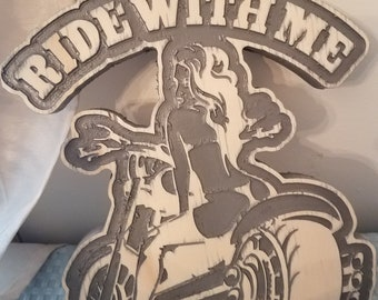 """carved wall hanging, """"ride with me"""""""