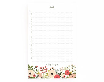 Floral To Do Notepad | Daily Planner Notepad with To Do List: Blooming Wreath To Do List Notepad