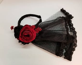 Deep Red and Black Veil
