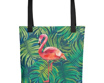 """Pink Flamingo on Green Leaves Tropical 15""""x15"""" Market Tote Bag Carryall"""