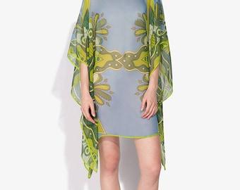 100% silk Boat-necked Short Silk Kaftan 109x86/ No (4) mandala TREE transparent silk georgette