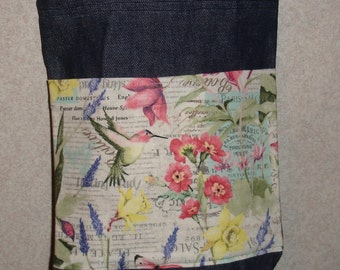 New Small Handmade Hummingbird Floral Flower Garden Denim Tote Bag Purse