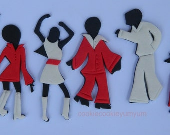 6 dancing edible DISCO PARTY PEOPLE cake topper 70's dressed dancer cupcake wedding topper decoration party wedding anniversary birthday