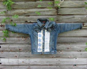 Jean jacket, denim jacket, vintage feedsack, farmstyle,
