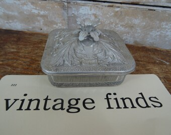 Vintage Jewelry or Catch All Glass and Aluminum Container