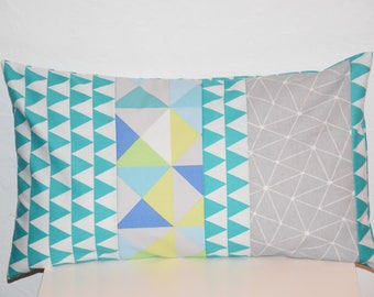 Cushion - 50 x 30 cm - pattern graphs and triangles - Multicolors