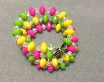 Dragonfly Bracelet Memory Wire Acrylic Pink Green Yellow AB Beads CL1531B
