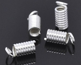 Set of 20 spring 9X4mm silvered Metal cord 2mm to 2.5 mm