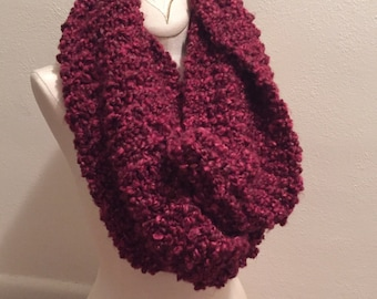 Chunky hand knit infinity scarf, maroon infinity scark, cowl neck infinity scarf handmade, soft cozy dark red scarf, fashion knit scarf.
