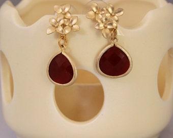 Matte Gold Flowers and Faceted Teardrop Earrings Three Colors, Dressy Earrings, Formal Jewelry, Wedding Earrings, Fancy Earrings