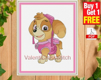 Skye Cross Stitch Pattern, Paw Patrol, Cartoon, counted cross stitch, x-stitch, baby cross stitch, chart, #sp 199