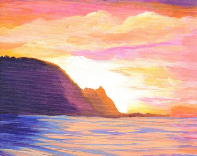 sunset 5x7 art prints Kauai Makana Mountain Bali Hai  Painting from Kauai Hawaii Hawaiian Art Na Pali Coast Kauai Interior Design Decor