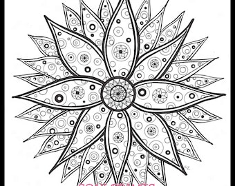 Coloring Pages Coloring Book Colouring Book Digital Download Fantasy Mandala Illustration Drawing Art Prints Adult Coloring Book Pages