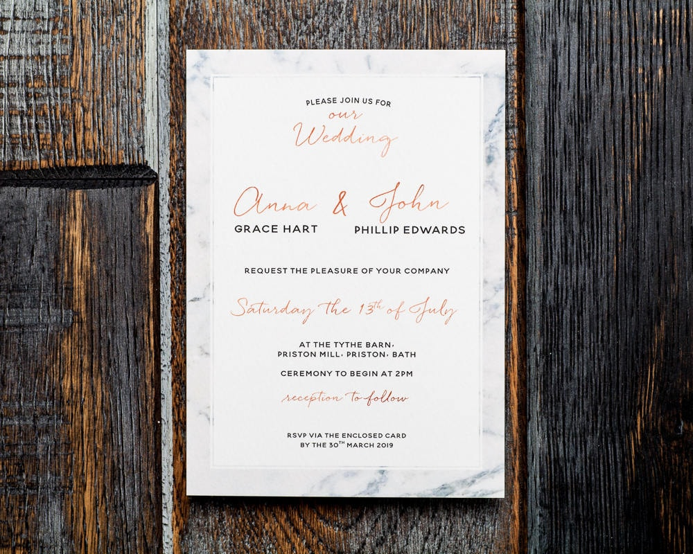 Marble rose gold wedding invitation rose gold invitation