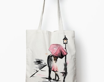 canvas tote bag, Romance tote bag, canvas tote