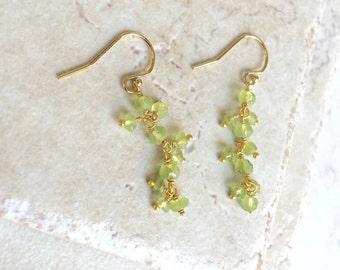 Peridot Earrings Long Earrings August Birthstone Gemstone Earrings Dressy Earrings Gold Earrings Gemstone Earrings Silver Earrings