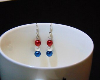 4th of July, Patriotic Earrings, Patriotic Drop Earrings, Red White & Blue, White Pearl Earrings, Red Pearl Earrings, Blue Pearl Earrings
