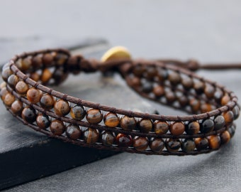 Stone Beaded Tiger Eyes Row Bracelets Cuff Men Women Gift For Him