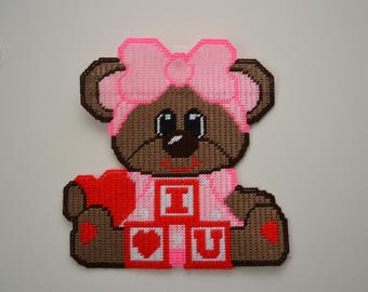 Adorable Valentine Bear With I Love You Blocks