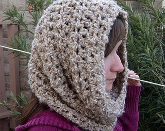 COWL SCARF Off White, Tan, Beige, Gray Grey, 18 COLORS Available, Soft Crochet Knit Winter Infinity Loop Acrylic Hood Snood, Neck Warmer