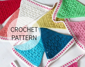 Crochet Pattern - Isak's Bunting - UK and US terms - PDF file - crochet bunting pattern, garland, decoration, crochet for babies