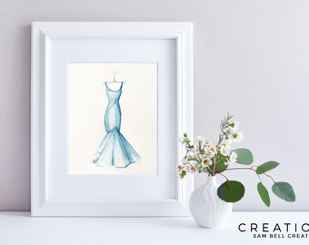 Fashion Illustration Original Watercolor Painting Art - Blue Dress with Swarovskis - 210x297mm