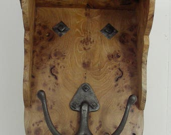 wood shelf bracket whatnot burl erlm wrought iron hook