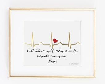 EKG I Will Dedicate My Life Today 8X10 Nurse Wall Art |Hospital Door Hanger |Gold EKG With Red Heart |Gift For A Nursing Student| Nurse Gift