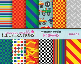 Monster Trucks Cute Digital Papers for Card Design, Scrapbooking, and Web Design