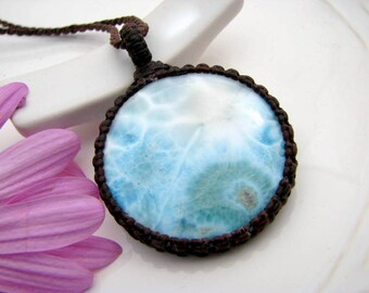 Boho gift, Larimar Necklace / Larimar / Valentines Day / Anniversary  / Healing stones and crystals / Bohemian / boho